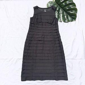 ELLEN TRACY | charcoal layered sheath dress